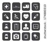 black and white medical icons... | Shutterstock .eps vector #174880310