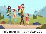 family hiking background....   Shutterstock . vector #1748824286