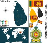 vector map of sri lanka with... | Shutterstock .eps vector #174884636