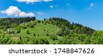 Small photo of Rural ascetic houses on a hill panorama. Remote village on the Carpathian Mountains green slope. Barn woods, log houses, fenced yards, green gardens, pastures and a forest around.