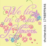 floral lettering on the yellow...   Shutterstock .eps vector #1748899646