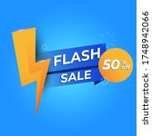 trendy vector flash sale banner.... | Shutterstock .eps vector #1748942066
