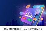 smartphone with increase market ...   Shutterstock .eps vector #1748948246