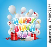 happy birthday banner with... | Shutterstock .eps vector #1748979179