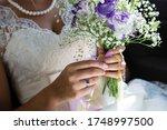 Bride's Hands  Unique Blue...
