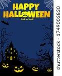 halloween silhouette background ...   Shutterstock .eps vector #1749003830