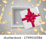 open gift box with red bow.... | Shutterstock .eps vector #1749010586