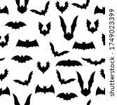 black bat silhouette seamless... | Shutterstock .eps vector #1749023399