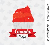canadian cupcake design  happy... | Shutterstock .eps vector #1749035696