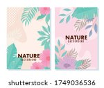set of background tropical and... | Shutterstock .eps vector #1749036536