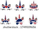 set of unicorns for 4th of july ... | Shutterstock .eps vector #1749039656