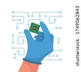 computer chip in hand. vector... | Shutterstock .eps vector #1749062843