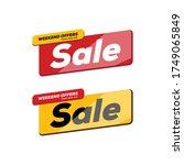 sale and weekend offers red and ... | Shutterstock .eps vector #1749065849