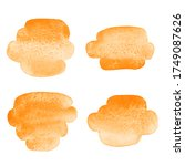 orange watercolor tiny brush... | Shutterstock . vector #1749087626