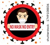 no mask no entry sign. covid 19 ... | Shutterstock .eps vector #1749108836