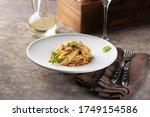 Pasta Carbonara Served In Deep...