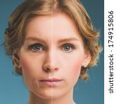 portrait of a woman before and... | Shutterstock . vector #174915806