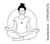 girl meditates. relax. love... | Shutterstock .eps vector #1749159176