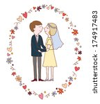 wedding couple bride and groom. ... | Shutterstock . vector #174917483