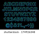 set of bold blue neon letters...