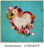 valentine s day vintage frame... | Shutterstock .eps vector #174926579