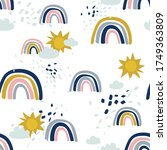 rainbow  hand drawn backdrop.... | Shutterstock .eps vector #1749363809