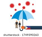 old people under the umbrella...   Shutterstock .eps vector #1749390263