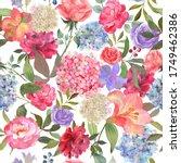 watercolor flowers seamless... | Shutterstock . vector #1749462386