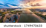 Haikou City Sunset Scenery with the Cross-sea Bridge in the Haikou Bay Area, Hainan Island, China, Asia.