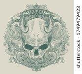 devil skull engraving outline... | Shutterstock .eps vector #1749479423