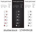 farm pork meat parts icons for...   Shutterstock .eps vector #174949418