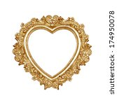 Old Golden Heart Picture Frame...