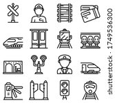 Electric Train Driver Icons Set....