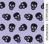 human skulls pattern on a... | Shutterstock .eps vector #1749538106
