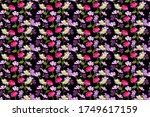 seamless floral pattern with... | Shutterstock . vector #1749617159