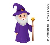 wizard with magic wand  old... | Shutterstock .eps vector #1749617303