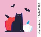 black cat and pumpkin vector.... | Shutterstock .eps vector #1749629186