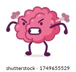 angry pink brain with steam... | Shutterstock .eps vector #1749655529