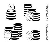 set of coins stack and dollar...   Shutterstock .eps vector #1749690563