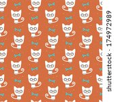 hipster cat seamless background. | Shutterstock .eps vector #174972989