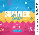 eye catching summer sale mobile ... | Shutterstock .eps vector #1749763853