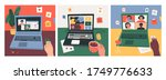 three various workplaces ... | Shutterstock .eps vector #1749776633