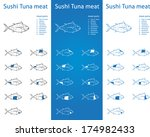 sushi tuna meat parts icons for ... | Shutterstock .eps vector #174982433
