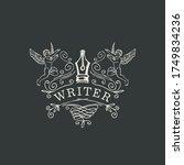 writer logo  icon  vignette or... | Shutterstock .eps vector #1749834236