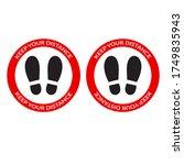 keep your distance footprint... | Shutterstock .eps vector #1749835943