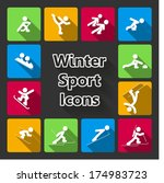 winter sports icons set...