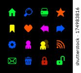 colored pixel icons set for...