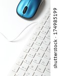 White Keyboard And Blue Mouse