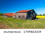 Old Broken Down Barn With...
