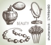Beauty Sketch Icon Set. Vintag...
